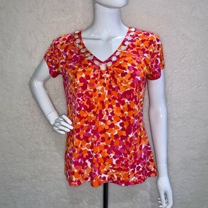 Ruby Rd Small Top Beaded Pink Orange Purple White